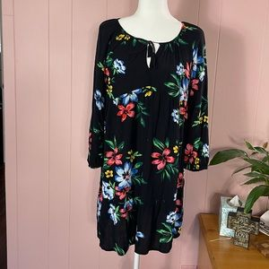 Old Navy Black floral long sleeve tunic Dress S
